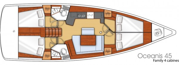 Oceanis 45 - 2015 (port Gocek) Layout