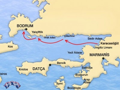 Karacasogut-Bodrum Mini Cruise Map