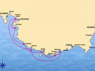 Fethiye-Kekova Caicco Crociera Map