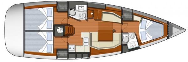 Sun Odyssey 42i - 2010 (port Gocek) Layout