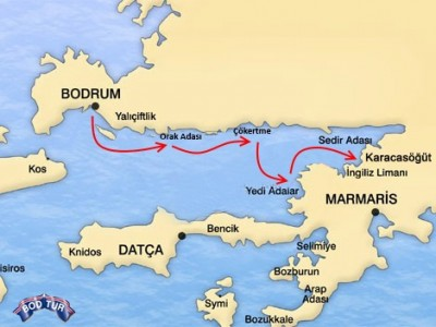 Bodrum-Karacasogut Mini Cruise Map