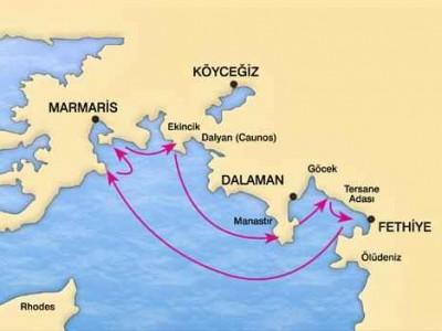 Marmaris-Fethiye Caicco Crociera Map