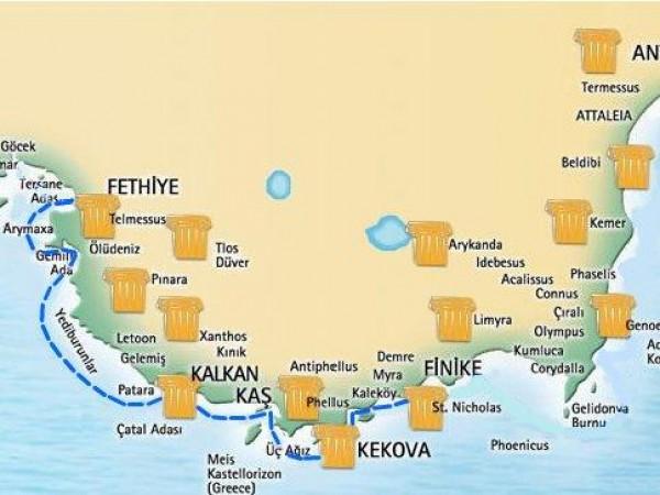 Olympos-Fethiye Mini Blue Cruise Map