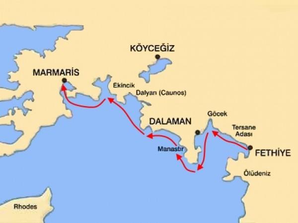 Fethiye-Marmaris Mini Blue Cruise Map