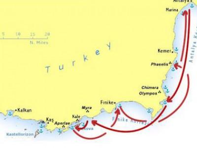 Antalya-Kekova Blue Cruise Map
