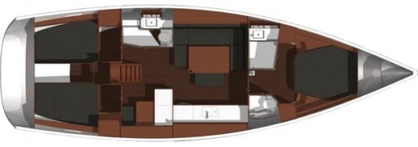 Dufour 445 GL - 3 Cabins (port Gocek) Layout
